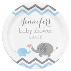 Elephant Baby Shower Plates | Blue Gray Chevron  sc 1 st  Pinterest & Oh Baby Blue Watercolor Baby Shower Paper Plate