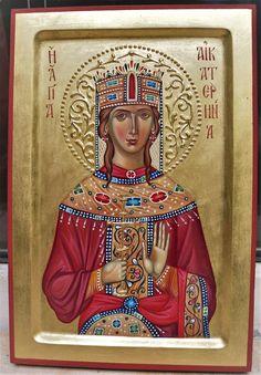 Katherine of Alexandria by iconographer Georgi Chimev St Catherine Of Alexandria, Byzantine Icons, Religious Icons, Orthodox Icons, Pop Art, Saints, Prayers, Angels, Princess Zelda