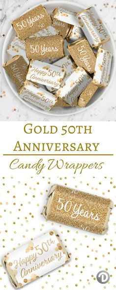 These Gold 50th Anniversary Party Stickers are made to perfectly wrap around Hershey's®️ Miniatures Bars for your upcoming: Gold 50th Wedding Anniversary Party 50 Years in Business Company Anniversary Party