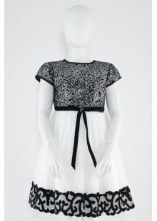 Two-tone (black and ivory) wedding girl dress