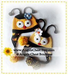 CUTE as can BEE HAT crochet pattern Pdf Format by AngelsChest, 6.99