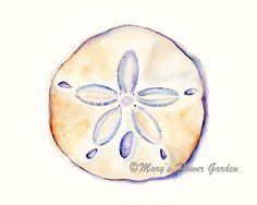 Watercolor Ocean, Watercolor Animals, Watercolor Print, Sandollar Tattoo, Seashell Painting, Seashell Art, Shell Drawing, Beach Cottage Decor, Coastal Decor