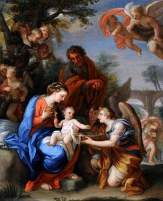 The Rest on the Flight into Egypt with Angels, One Offering the Christ Child the Symbols of the Passion  Giuseppe Bartolomeo Chiari (1654–1727)  National Trust, Calke Abbey