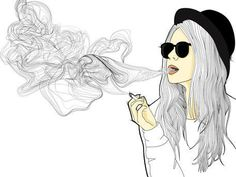 drawings of a girl smoking - Google Search