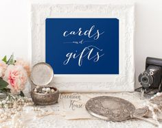 Printable Deep Navy Blue Cards and Gifts sign, Wedding Cards and gifts signs, 5x7, chalkboard wedding sign, Instant Download, WB11cg