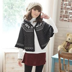 Tokyo Fashion - Nordic-Pattern Hooded Knit Cape