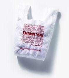 "Embroidered reusable ""thank you"" shopping bag"