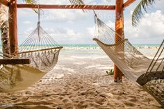 Two hammocks Two hammocks dangling in the wind on a tropical beach Mexico Stock Photo Weekend Getaways For Couples, Best Weekend Getaways, Weekend Trips, Long Weekend, Romantic Getaways, Romantic Travel, Romantic Places, Weekender, Travel And Leisure