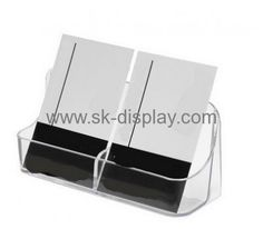 Green square acrylic table business card holder with pen holder bd clear acrylic pop up cheap business card holder with double holders bd 043 colourmoves Images