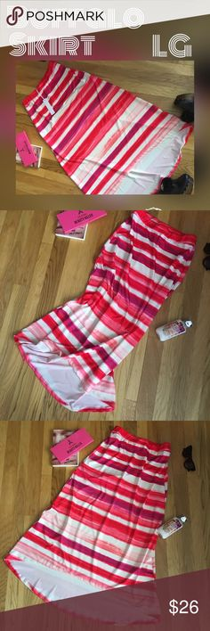 Skirt Me Happy feeling easy Wear skirt by Buffalo. Great quality and style all in one. Elastic waist with a chic higher in the front hemline. Red, pink, purple, white stripe print! Excellent choice for dressy, casual, evening, or dancing at the beach!  Perfect for party time! Spring/Summer fashion 😍 Limited time moving sale 40% Off Bundles more info at the top of my closet. Buffalo David Bitton Skirts Asymmetrical