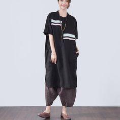 Splicing Short Sleeves Women Black Summer Dress