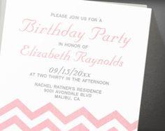 Retro Chevron Birthday Party Invitation