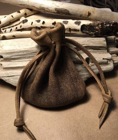Large Size Men's Leather Bag Large Size - Drawstring Pouch Bag - Brown - Distressed Leather, Man Bag