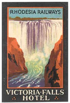 Vintage Travel Poster Rhodesia, Victoria Falls, Africa