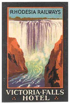 Vic Falls Hotel, Zimbabwe (former Rhodesia), ad by Rhodesia Railways, year ?