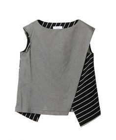 블랙&그레이 스트라이프 레이어드 민소매 티셔츠