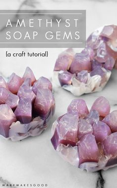 These pretty purple gem stones are actually made from soap! Make your own ethereal gem clusters from melt & pour soap using this simple DIY project.