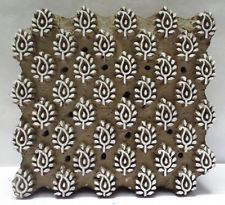 INDIAN WOODEN HAND CARVED TEXTILE PRINTING FABRIC BLOCK STAMP FINE PAISLEY LEAF
