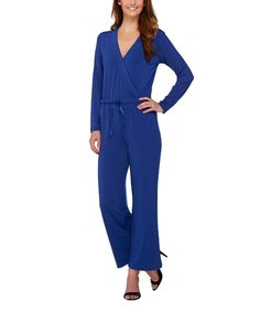 Another great find on #zulily! H by Halston Broadway Blue Drawstring Wide-Leg Jumpsuit - Plus Too by H by Halston #zulilyfinds