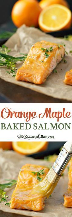 5 Ingredients and 5 Minutes of Prep for this Orange Maple Baked Salmon! 5 Ingredients an Easy Salmon Recipes, Fish Recipes, Seafood Recipes, Healthy Dinner Recipes, Cooking Recipes, Healthy Dinners, Burger Recipes, Fish Dishes, Seafood Dishes