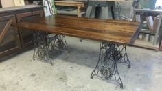 Old growth yellow pine with iron singer sewing machine base - Stable Tables