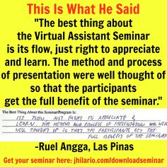 Here's Ruel Angga, a VA seminar attendee,  telling about his best experience in the seminar.