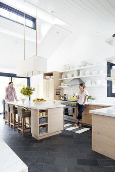 white + wood + open shelves