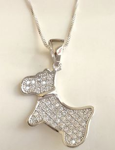 "Sterling Silver Terrier Dog Necklace Scotty Doxie Cubic Zirconia Pendant 18"" USA #Unbranded #Pendant"