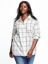 Women's Plus Plaid Flannel Boyfriend Shirt
