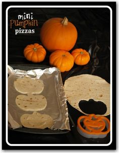 Pumpkin pizzas - using a pumpkin shaped cookie cutter