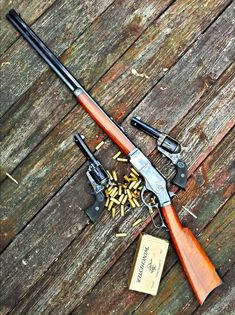 Having a good lever action rifle and a revolver that shoot the same caliber ammo is always a good addition to any collection or outdoor adventure! Weapons Guns, Guns And Ammo, Winchester 1873, Winchester Rifle, Cowboy Action Shooting, Lever Action Rifles, Hunting Rifles, Cool Guns, Le Far West