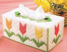 SPRING TULIP GARDEN Tissue Topper Box Cover - Plastic Canvas Pattern. $2.95, via Etsy.