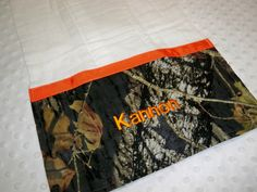 Camo Baby Boy Personalized Burp Cloth - Perfect for the Little Hunter - Personalized Camo and Orange Burp Cloth Embroidered with Baby's Name on Etsy, $9.99