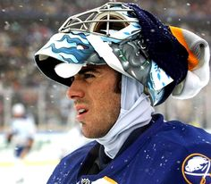BUFFALO, NY - JANUARY 01:  Goaltender Ryan Miller of the Buffalo Sabres looks on before his team take on the Pittsburgh Penguins in the NHL Winter Classic on January 1, 2008 in Buffalo, New York.  (Photo by Harry How/Getty Images)