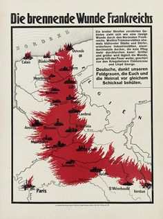 Vintage infographic The burning wound in France (1918)