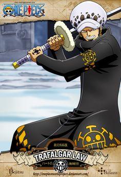 """One Piece - Trafalgar D. Water Law  apodado """"El Cirujano de la Muerte"""" (死の外科医  Shi no Gekai?), más conocido como """"Trafalgar Law"""" es el Capitán de los Piratas Heart y uno de los Once Supernovas que llegaron al Archipiélago Sabaody hace dos años y por lo tanto miembro de La Peor Generación con una recompensa de Berrysymbol200.000.000."""