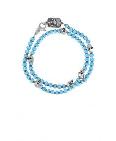 King Baby - Turquoise Double Wrap Bead Bracelet with 6 Skulls King Baby Jewelry, Latest Fashion Design, Beaded Wrap Bracelets, Silver Diamonds, Skulls, Branding Design, Turquoise, Gold, Queen