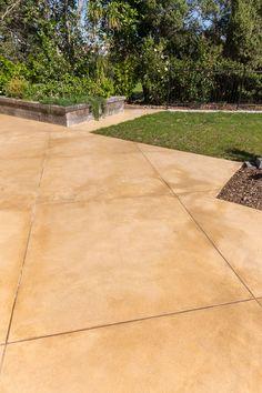 Sandstone coloured concrete Concrete Patios, Colored Concrete Patio, Sandstone Pavers, Sandstone Color, Fire Pit Backyard, Backyard Patio, Backyard Ideas, Desert Colors, Front Porch