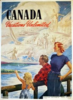 Canada 1950 vintage travel cruise poster