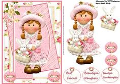 cute girl card on Craftsuprint designed by Cynthia Berridge - cute girl card with decoupage - Now available for download!
