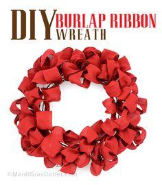 DIY Burlap Ribbon Wreath