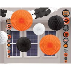 9 Piece Halloween Party Hanging Paper Decoration Kit - A great starting point for a spooky room!