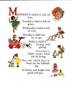 """Fair of face poem. """"Around the Week"""" an Algonquin Happy Book No. Illustrated by Ruby Hart. Copyright 1931 by the P. Volland Co. Nursery Rhymes Poems, Rhymes Songs, Mondays Child Poem, Cute Quotes For Kids, Poetry For Kids, Nice Poetry, Monday's Child, Kids Poems, Quotes Children"""