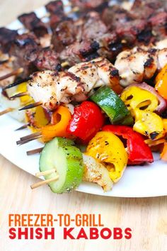 Save time and money with these shish kabobs that you make ahead of time. Simply chop the meat and veggies, make this shish kabob marinate, and freeze them. Kabob Recipes, Grilling Recipes, Beef Recipes, Real Food Recipes, Chicken Recipes, Healthy Recipes, Healthy Options, Healthy Food, Barbecue Recipes