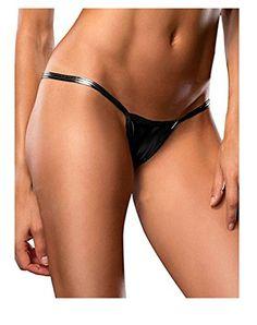 790c9e116315 Women Sexy PVC Metallic Leather Look Micro Thong G-string Panties at Amazon  Women's Clothing store: