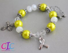 Yellow and White Endometriosis Awareness Religious bracelet by CICinspireme, $28.00