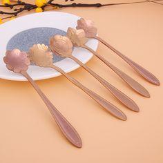 5pcs/set Tableware Flower Shape Sugar Stainless Steel Tea Coffee Spoon Teaspoons Ice Cream Flatware Kitchen Tool #Affiliate