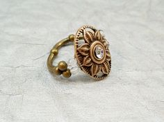 Stretch Band Ring Antique Gold Ring Cocktail Ring by babbleon, $10.00