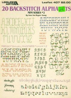 Stone Hill Collectibles - 20 Backstitch Alphabet Mini Cross Stitch Patterns Holly Floral & Fancy