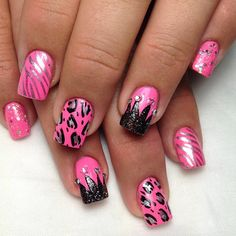 45 cute pink and black nails designs - Nail Designs Pink Black Nails, Pink Nail Colors, Cute Pink Nails, Pink Nail Art, Cute Nail Art, Love Nails, My Nails, Pretty Nails, Black Nail Designs